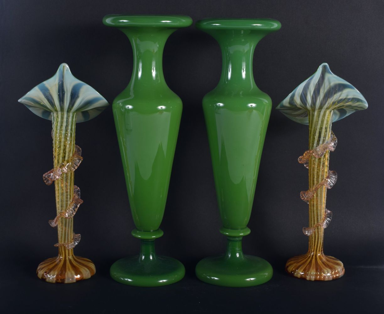 A LARGE PAIR OF VINTAGE OLIVE GREEN VASES together with a smaller pair. Largest 37 cm high. (4) - Image 2 of 2