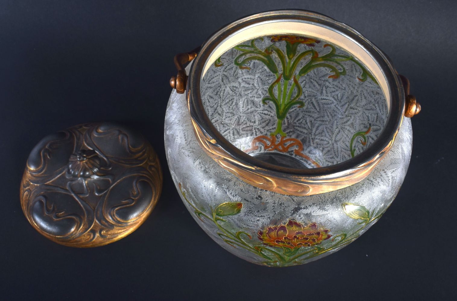 A FINE FRENCH ART NOUVEAU ENAMELLED FROSTED GLASS BISCUIT BARREL possibly by Legras, painted with st - Image 3 of 4