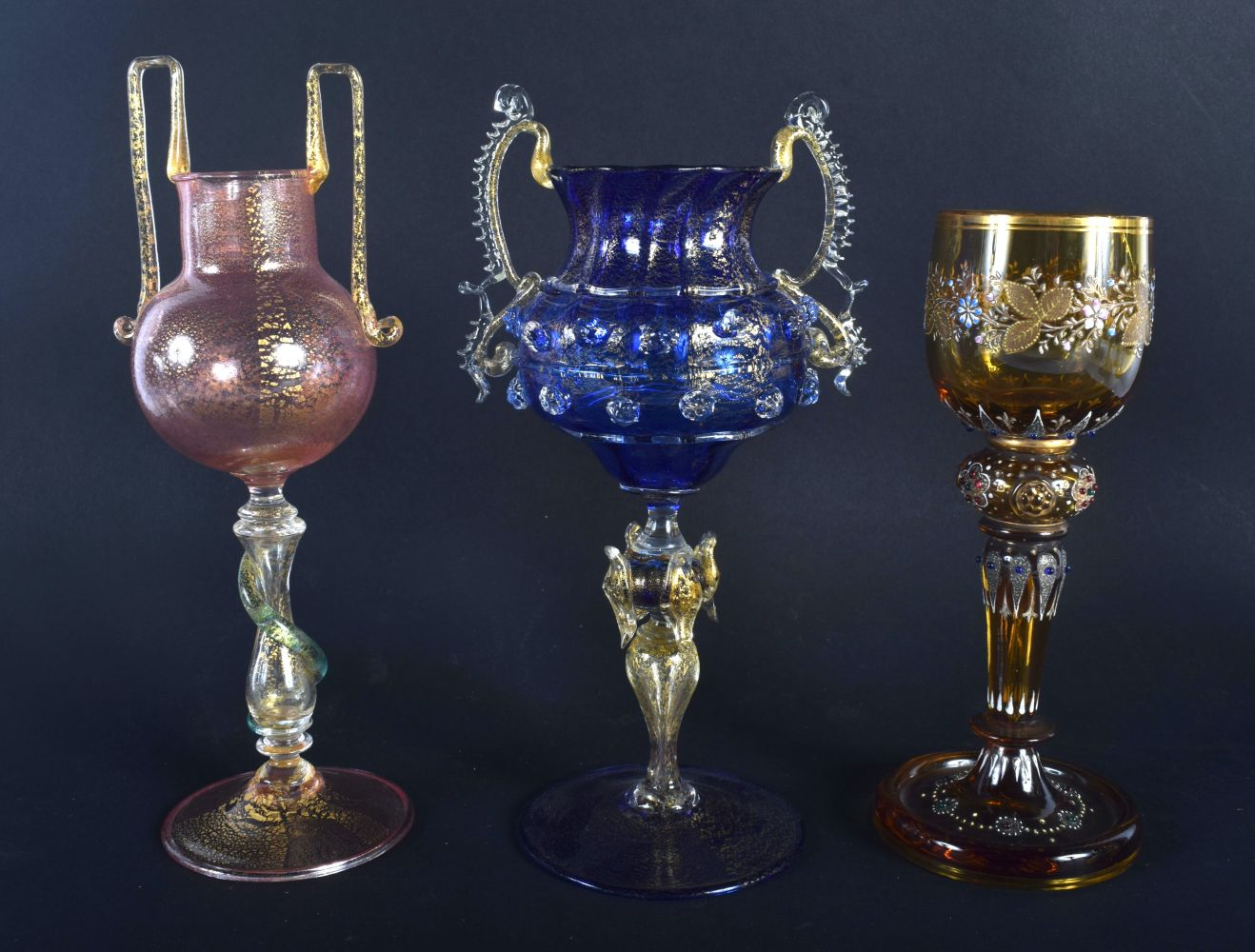 TWO VENETIAN GLASSES together with a Lobmeyr type glass. Largest 21 cm high. (3) - Image 2 of 2