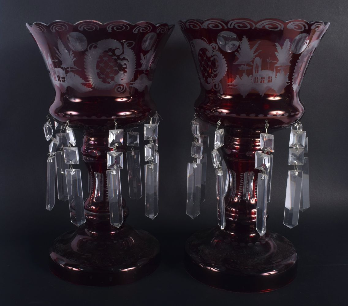 A LARGE PAIR OF VINTAGE RUBY GLASS TABLE LUSTRES decorated with landscapes. 30 cm x 18 cm. - Image 3 of 3