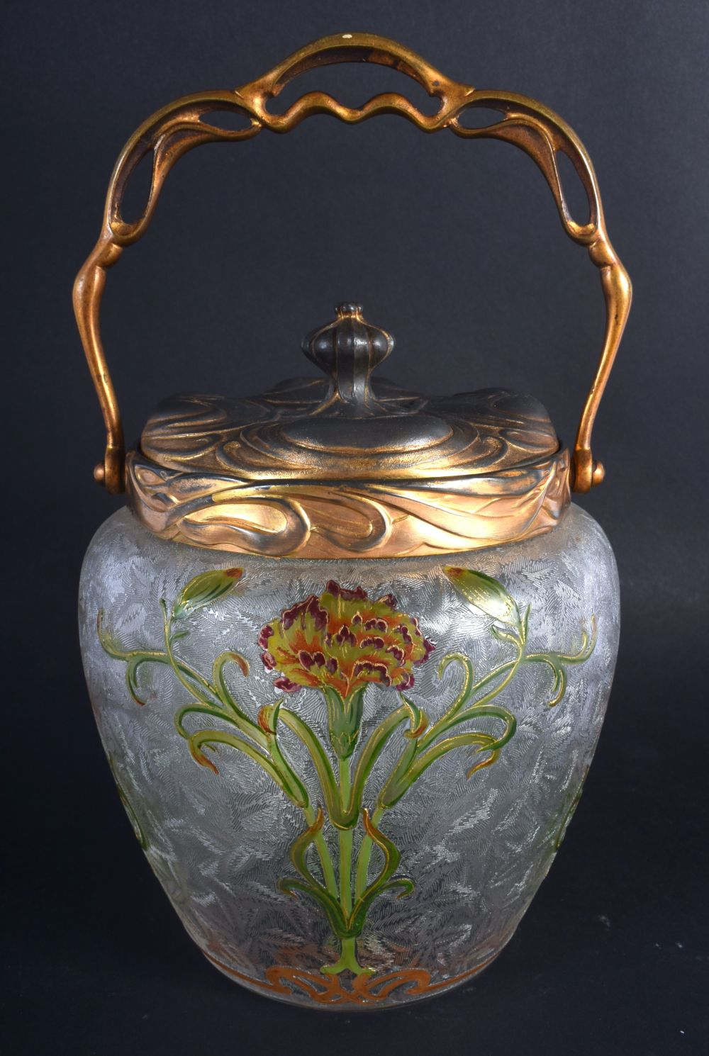 A FINE FRENCH ART NOUVEAU ENAMELLED FROSTED GLASS BISCUIT BARREL possibly by Legras, painted with st
