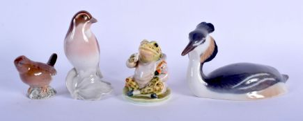 A BESWICK GOLD STAMP BEATRIX POTTERY JEREMY FISHER FIGURE together with three Bing & Grondahl figure