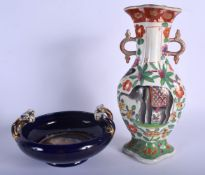 A 19TH CENTURY FRENCH SAMSONS OF PARIS PORCELAIN VASE together with a Vienna style bowl. Largest 25