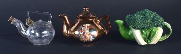 AN EXTREMELY RARE VICTORIAN MINIATURE GLASS TEAPOT possibly for oil, lozenge mark to base, together