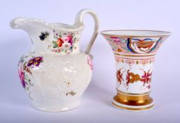 AN EARLY 19TH CENTURY ENGLISH PORCELAIN FLARED VASE probably Coalport, together with a moulded and p