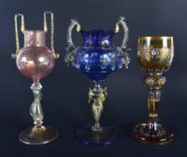 TWO VENETIAN GLASSES together with a Lobmeyr type glass. Largest 21 cm high. (3)