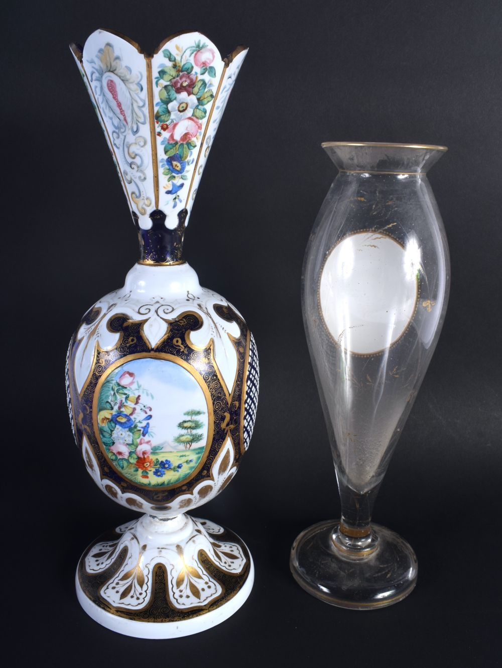 AN ANTIQUE BOHEMIAN ENAMELLED GLASS VASE together with a bohemian portrait vase. 32 cm high. (2) - Image 2 of 2
