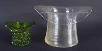 TWO ANTIQUE GLASS UPTURNED TOP HATS. 12 cm x 12 cm.