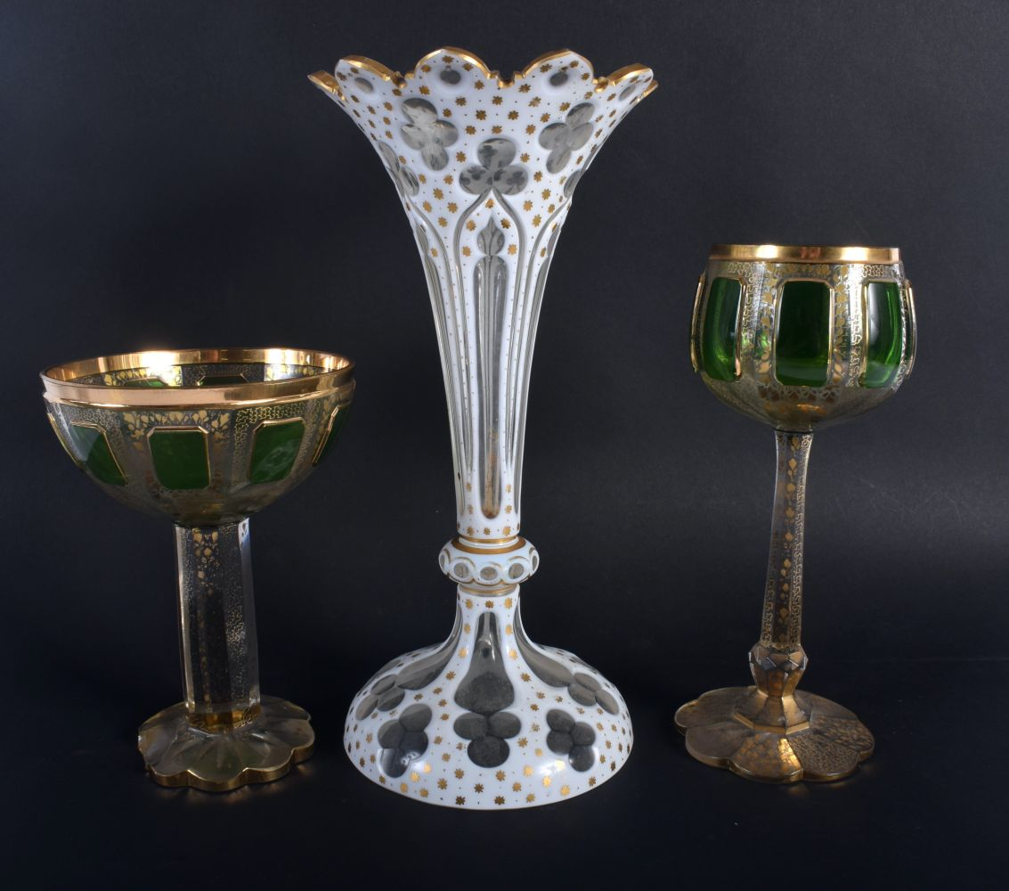 A LARGE ANTIQUE BOHEMIAN WHITE ENAMELLED GLASS VASE together with two green & gilt glasses. Largest - Image 2 of 2