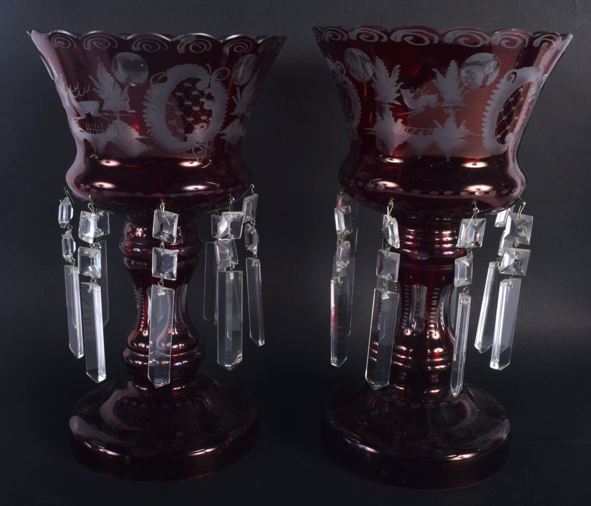 A LARGE PAIR OF VINTAGE RUBY GLASS TABLE LUSTRES decorated with landscapes. 30 cm x 18 cm. - Image 2 of 3