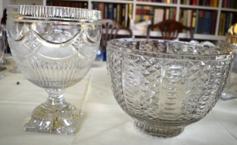 A REGENCY PEDESTAL CUT CRYSTAL GLASS PEDESTAL BOWL together with another similar large diamond cut