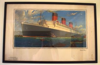 William McDowell (20th Century) Print, RMS Queen Mary. Image 87 cm x 57 cm.
