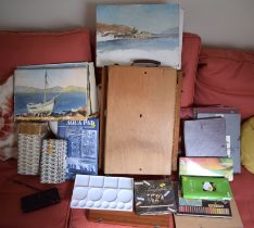 AN ARTIST OUTDOOR EASEL together with paint box etc. (qty)