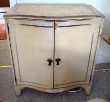 A NEAR PAIR OF VINTAGE SERPENTINE FORM PAINTED WOOD CABINET by John Lewis. Image 80 cm x 84 cm.