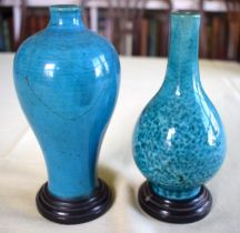 AN EARLY 18TH CENTURY CHINESE TURQUOISE GLAZED MEIPING STYLE VASE Late Kangxi, together with a simil