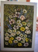 Elizabeth Cameron (20th Century) Oil on board, Flowers. Image 119 cm x 78 cm.