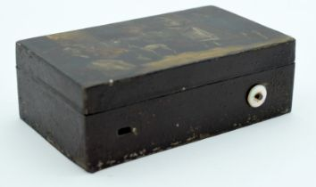 A RARE 19TH CENTURY PAINTED LACQUERED POCKET TIN MUSICAL BOX painted with figures within interiors i