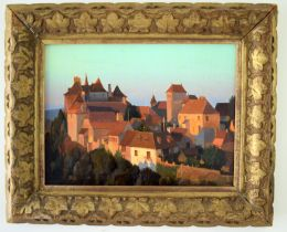 Duke Woolley () Oil on canvas, View of Dordogne. Image 34 cm x 28 cm.