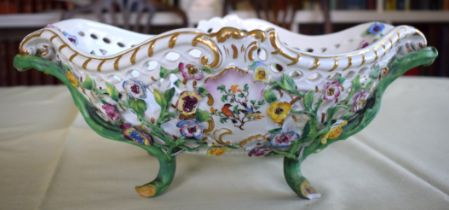 A LARGE LATE 19TH CENTURY MEISSEN PORCELAIN ENCRUSTED BASKET painted with flowers and naturalistic v