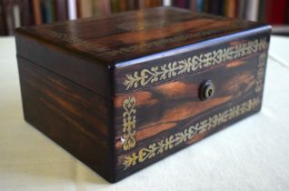 AN EARLY VICTORIAN COROMANDEL BRASS INLAID BOX AND COVER decorated with floral type motifs. 21 cm x