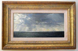 Cavendish Morton (1911-1915) Scottish, Oil on board, coastal scene. Image 30 cm x 15 cm.