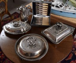 A LARGE COLLECTION OF SILVER PLATE including three serving dishes, a coffee pot, cased set of cutler