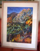 Elizabeth MacDonnell (20th Century) Watercolour, Hot Cornish Landscape. Image 76 cm x 48 cm.