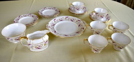 A ROYAL CROWN DERBY PRINCESS PATTERN SIX PIECE PORCELAIN TEASET painted and gilded in the 18th centu