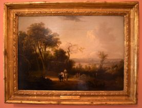 Alexander Nasmyth (1758-1840) Oil on board, Figures roaming within a landscape. Image 32 cm x 20 cm