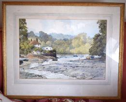 Bert Wright (20th Century) Watercolour, Helford River. Image 47 cm x 32 cm.