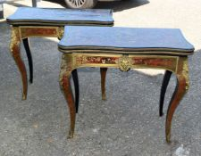 A PAIR 19TH CENTURY FRENCH BOULLE BRASS INLAID CARD TABLES decorated with foliage and figures in var