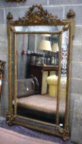 A FINE LARGE 19TH CENTURY EUROPEAN CARVED GILTWOOD MIRROR with well carved etched glass. 165 cm x 10