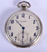 AN ART DECO SILVER PLATED WALTHAM SILVER POCKET WATCH. 53 grams. 4.75 cm diameter.