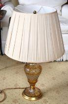 AN ANTIQUE BOHEMIAN GLASS LAMP. Glass 40 cm high.