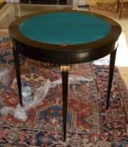 AN EARLY 19TH CENTURY CONTINENTAL INLAID FOLD OVER TABLE with unusual acanthus capped legs. 83 cm x