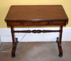 A VICTORIAN SINGLE DRAWER MAHOGANY TABLE. 85 cm x 73 cm.