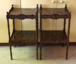 A PAIR OF EARLY 20TH CENTURY IMITATION COROMANDEL BEDSIDE TABLES with bamboo style supports. 79 cm x