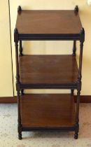 AN ANTIQUE MAHOGANY THREE TIER WHAT NOT of small proportions. 80 cm x 40 cm.