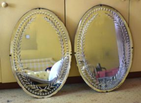 A PAIR OF ANTIQUE CUT GLASS MIRRORS possibly George III and Irish. 80 cm x 50 cm.