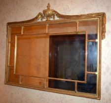 A VERY LARGE EARLY 19TH CENTURY RECTANGULAR CARVED WOOD OVER MANTLE MIRROR of neo classical form. 14