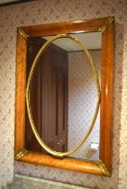 A MID 19TH CENTURY CONTINENTAL BURR WALNUT MIRROR with oval inset beadwork central panel. 85 cm x 60