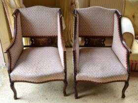 A PAIR OF 19TH CENTURY CONTINENTAL UPHOLSTERED SALON CHAIRS inlaid with foliage. 90 cm x 55 cm.
