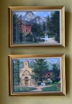 Hungarian School (20th Century) Geza, Pair of oil on canvas, Landscapes. Image 28 cm x 20 cm.