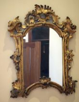 AN ANTIQUE CONTINENTAL GILTWOOD SCROLLING MIRROR with acanthus capped banding. 70 cm x 60 cm.
