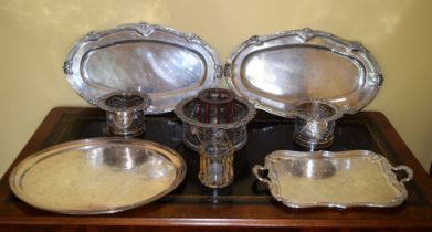 THREE LARGE 19TH CENTURY OLD SHEFFIELD PLATED TABLE COASTERS together with serving trays etc. Larges