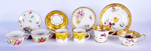 AN EARLY 19TH CENTURY ENGLISH PORCELAIN TRIO together with Dresden china etc. (qty)
