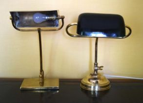 A BRASS ANGLEPOISE LAMP together with another. 40 cm high. (2)