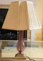 AN EARLY 20TH CENTURY EUROPEAN GLASS VASE converted to a lamp. Brass and glass 45 cm high.