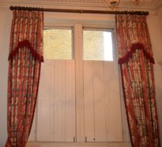 A LARGE PAIR OF FULL LENGTH COUNTRY HOUSE CURTAINS decorated with foliage and vines. 380 cm x 320 cm