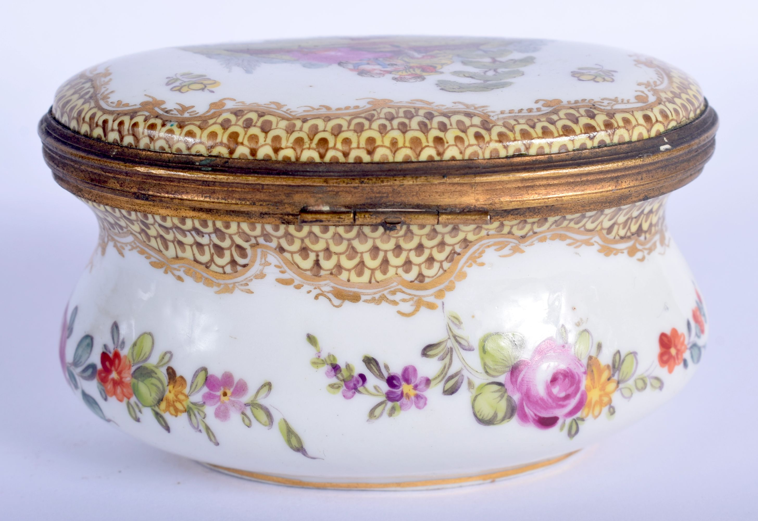 A 19TH CENTURY GERMAN HOSCHT PORCELAIN ENAMELLED BOX painted with figures within landscapes. 10 cm x - Image 2 of 5
